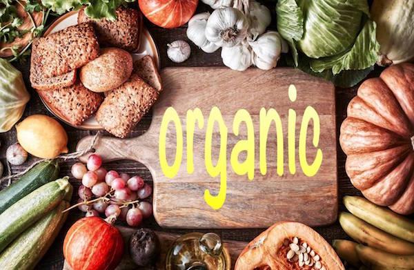 野菜とオーガニックの文字